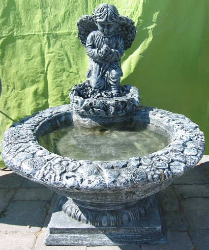 Boy Angel with Dove Fountain