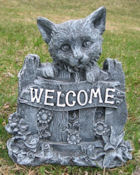 Cat Welcome Stone (Black Marble)
