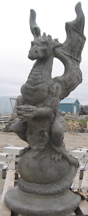 "Life Size Dragon on Globe with 6"" Globe (450 pounds)"