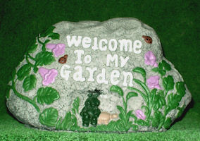 Welcome to My Garden Lazy Frog and Turtle Garden Rock