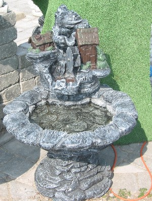 Mountain Shack Fountain with Water Wheel